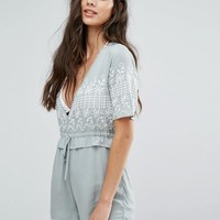 Missguided Frill Waist Embroidered Romper at asos.com