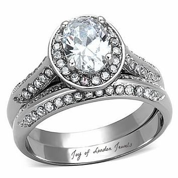 SALE   A Perfect Vintage Style 2CT Oval Cut Halo Russian Lab Diamond Bridal Set Wedding Band Ring