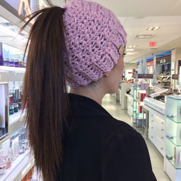 Viral Messy Bun Hat - Winter Hat for Women - Runner's Hat - Ponytail Winter Hat - Gift for Runners - Winter Hat for Runners