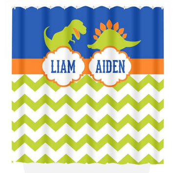 DINOSAUR SHOWER CURTAIN, Brothers Shared Bathroom, Dino Theme Decor, Kid Custom Monogram Personalized Bathroom, Beach Towel, Plush Bath Mat