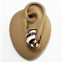 Purple White Striped Half Hoops Clip On Earrings Gold Tone Vintage Curved Raised Ridge Ribs Ear Cuffs Wide Bands