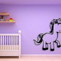 Wall Sticker For Kids Baby Horse Cool Decor for Nursery Room Unique Gift z1407