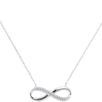 10kt White Gold Womens Round Diamond Infinity Pendant Necklace 1/8 Cttw