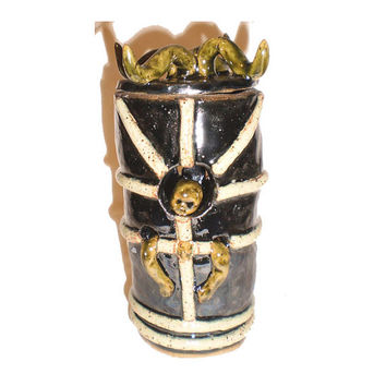 Horned Devotion Cup (2) - slab/coil jar with eerie molded baby face and lid with horns