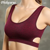 2018 Phikesey new style Sports Bra  Sexy Women Strap Running Vest Gym sports bra Padded Sport Top Athletic yoga bra
