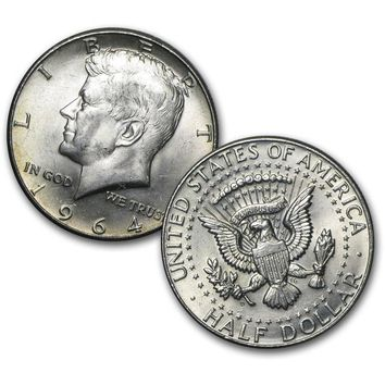 1964 90% Silver Kennedy Half Dollar Average Circulated (2-Piece)