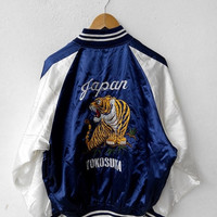CRAZY SALE 25% Vintage Japan SUKAJAN Tiger Roar Gold Yokosuka 1980's Embroidery Tokyo Embroidered Souvenir Blue Satin Jacket L