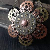 Steam Punk Necklace Clock, Steampunk Gear Statement Necklace, Steampunk Clock Statement Necklace, Gothic Jewelry, Steampunk Gear Accessories