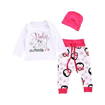 Newborn Infant Baby Girl Letter T shirt Tops+Pants Hat Outfits Set