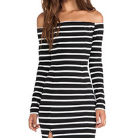 NICHOLAS Riviera Stripe Off Shoulder Long Sleeve Dress in Black