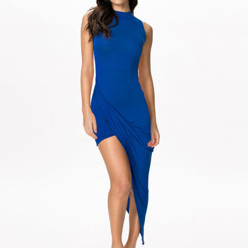 Blue Sleeveless Asymmetrical Bodycon Dress