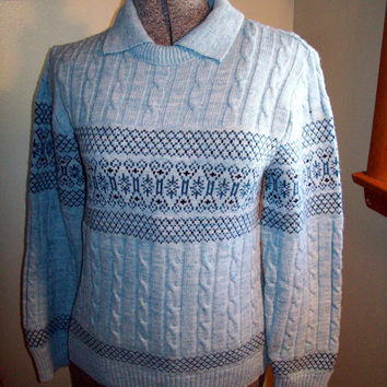 Gorgeous Vintage 50s 60s Powder Blue Amana Cable Knit Ski Sweater