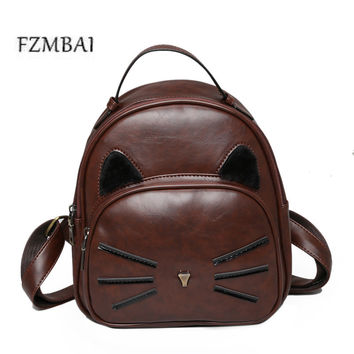 2017 New PU Bag Retro Kitten Pattern Female Backpack Korean Fashion All-match Academy Student Backpack