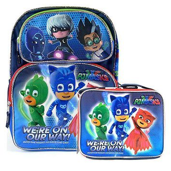 """PJ Masks We're On Our Way Backpack 12"""" Boys Book School Backpack With Lunch Bag"""