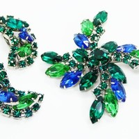 Blue & Green Brooch and Earrings Demi Set -  Clip on Earrings and Pin Wheel - Prong Set Marquis and Chaton Rhinestones - Vintage 1950s 1960s
