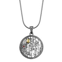 John Hardy Classic Chain Heritage Gold & Silver Bamboo Motif Pendant Necklace