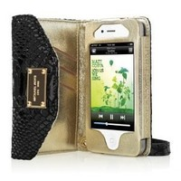 Luxury Designer Patent Leather Case Cover Wallet Pouch Hand Bag Purse Clutch For Apple iPhone 4 4G 4S (Black Python)