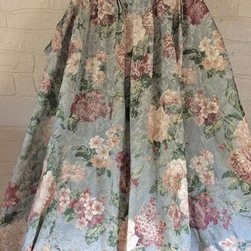 Pinch Pleat Drape Floral Curtain Panel Brocade Curtain Floral Drape Pair Drapery Panel Pair Curtain Living Room Curtain Grandma Decor Pink