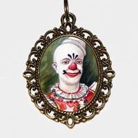 Clown Necklace, Circus, Birthday, Scary, Spooky, Halloween Clowns, Bronze Oval Pendant