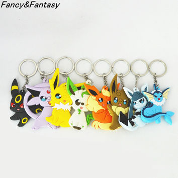 Fancy&Fantasy 8Pcs/Lot Eevee Pocket Monsters Cartoon PVC Keychain Pokemon Mini Figure pendants charms collection toy Key Ring