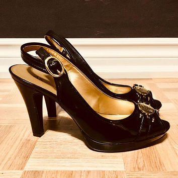 Anne Klein Patent Sling Back Heels, Black Dress Shoes, Designer Heels, Antique Alchemy
