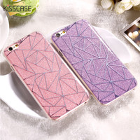 KISSCASE For iPhone 6 6S Plus Cover Case Glitter Powder Rhombus Soft TPU & Hard PC Mobile Phone Case For iPhone 7 7 Plus 6 6S