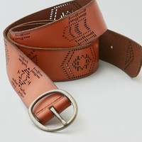 AEO Women's Geo Perforated Leather Belt (Tan)