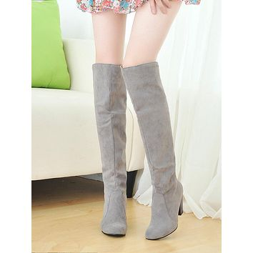 Big size 34-43 New Women Knee High Boots Sexy Chunky High Heels Fashion Spring Autumn Shoes Round Toe high riding boots k635
