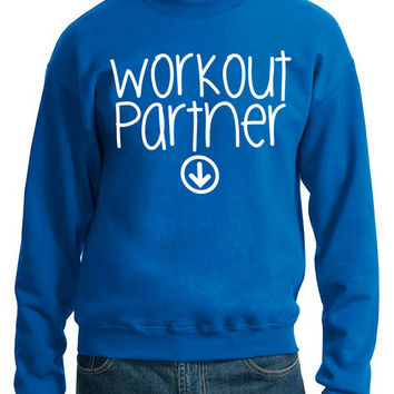 Workout Partner Crewneck Sweatshirt Baby Pregnant Pregnancy Women's Gym Workout Fitness Funny Booty Funny Muscle