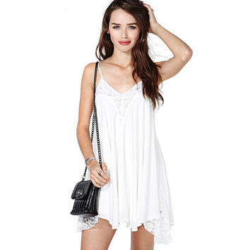 2016 Spring Summer Stylish White Spaghetti Strap Sexy Women One-piece Dress