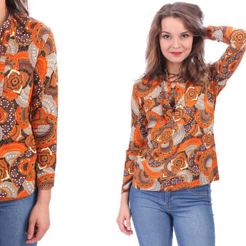 60s ETHNIC Hippie Shirt . Vintage Tunic Top Blouse Cotton Boho 1960s Psychodelic Oarnge Brown Grey Print Bohemian Festival  Flowers . XS S