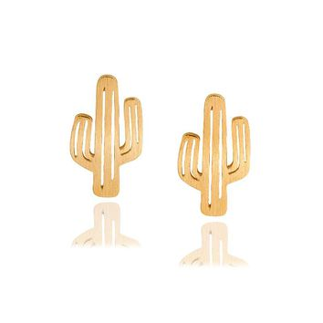 Hot New Fashion jewelry alloy cute  drawing hollow cactus   earrings   E324