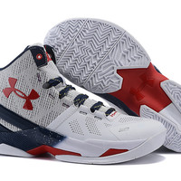 Men's Under Armour Stephen Curry 2 White Blue Red Basketball Shoes