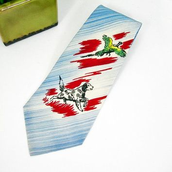 Vintage 1950s Mans Necktie, Dog Hunting Pheasant, Individually Hand Painted, Pilgrim Acetate Cravats Sports Tie, Burgundy Blue White, Gift