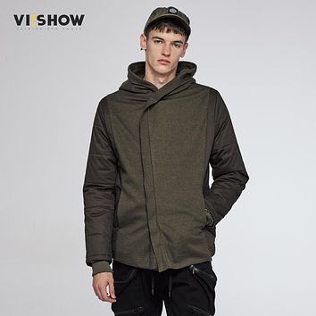 VIISHOW Brand Winter Jacket Slim Fit Parka Men Army Green Hoody Jacket and Coat Hip Hop Zipper Design Fashion MC19564