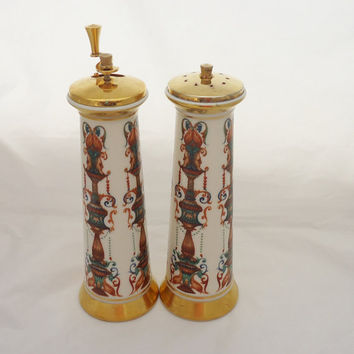 Vintage 1970s Lenox China Lido Salt shaker Pepper Mill Set gold trim, Vintage Hand-painted Lenox China Salt and Pepper Mill