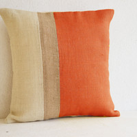 Orange Pillow - Burlap Pillow color block - Orange Decorative cushion cover- Spring Throw pillow gift 18X18 - Orange Euro Sham