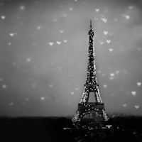 Paris Photography, Eiffel Tower, Christmas, Gray, black, winter, white, Blur, Hearts, Wall Decor, 12x12