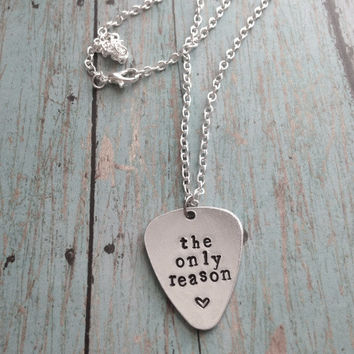 5 Seconds Of Summer The Only Reason Hand Stamped Guitar Pick Necklace