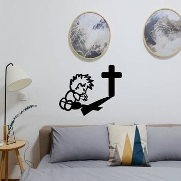 Calvin Praying Sign Vinyl Wall Decal - Removable (Indoor)