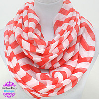 Zigzag Infinity Scarf Coral White