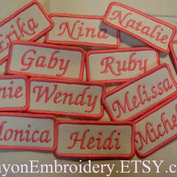 Bridesmaid Gift Bride Bridal 12 Name Patch By Canyon Embroidery Custom Iron or Sew On You Pick Color and Name Square Oval Round Name Patch