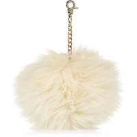 River Island Womens Cream faux fur pom pom keyring