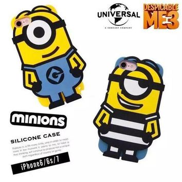 Newest for iphone 8 plus Cute cartoon 3D Minions Despible Me 3 soft silicone back cover for iphone 6 6s 7 plus phone cases