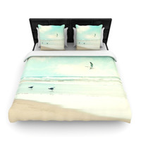 "Sylvia Cook ""Away We Go"" Beach Seagull Woven Duvet Cover"