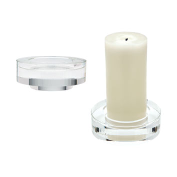 980009/S2 Fluted Crystal Candleholders - Set of 2