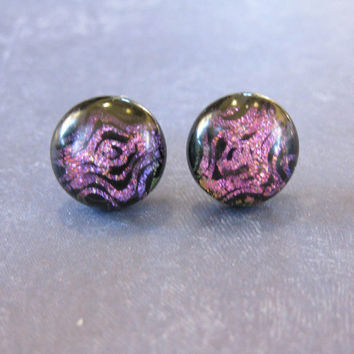 Pink Earrings, Pierced Earings, Post Fused Glass Earings, Ear Jewelry on Etsy - Shidler - 1712 -3