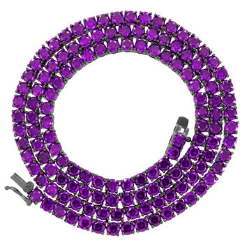 Hip Hop New Purple Solitaire Lab Diamonds Custom Tennis Chain Black Gold Finish