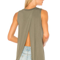 BCBGeneration Back Slit Tank In Dusty Olive