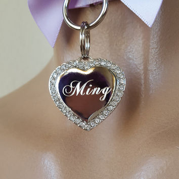 Collar Add-on: CZ Crystal Heart Tag (Add 1-2 Weeks to Processing Time)